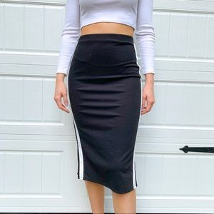 Black midi skirt with white adidas stripes
